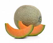 stock photo of cantaloupe  - cantaloupe melon isolated on a white background - JPG