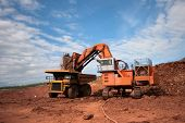 foto of iron ore  - Truck is being loaded with ore at a mine site - JPG