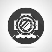 picture of oceanography  - Single black round flat design vector icon with white contour old style depth diving helmet on gray background - JPG