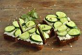 image of cilantro  - Sandwich with cream cheese cucumber and cilantro - JPG