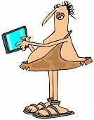 pic of caveman  - This illustration depicts a caveman showing his new tablet computer - JPG