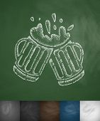 picture of drawing beer  - two mugs of beer icon - JPG