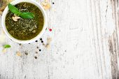 picture of pesto sauce  - Homemade green basil pesto sauce and fresh ingredients - JPG