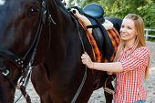 stock photo of horse girl  - Feeling glad - JPG