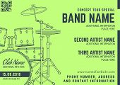 Постер, плакат: Rock Music Concert Drum Set Horizontal Music Flyer Template