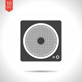 stock photo of subwoofer  - Vector flat isolate load speaker flat icon - JPG