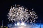 stock photo of night-blooming  - Firework   blooming   like   star   in   dark   night - JPG