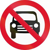stock photo of motor vehicles  - Hong Kong sign prohibiting thoroughfare for all motor vehicles - JPG