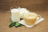 picture of milk products  - Milk cheese and fermented baked milk - JPG