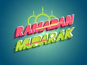picture of ramadan mubarak card  - Elegant greeting card design with stylish 3D text Ramadan Mubarak in pink and green colors for Islamic holy month of prayers - JPG