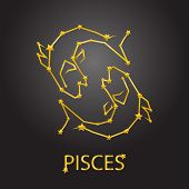 image of pisces  - Stars Pisces zodiac signs and background universe - JPG