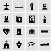 foto of funeral  - Vector black funeral icon set on grey background - JPG
