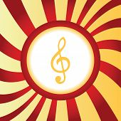 picture of clefs  - Yellow icon with image of treble clef - JPG