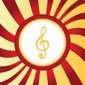 stock photo of treble clef  - Yellow icon with image of treble clef - JPG