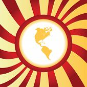 pic of continent  - Yellow icon with image of two american continents - JPG