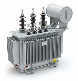 picture of transformer  - High voltage industrial power transformer on white background  - JPG