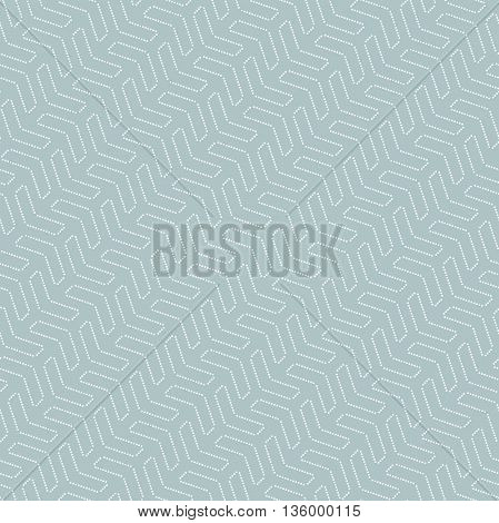 Geometric vector pattern with dotted elements. Seamless abstract background. Blue and white pattern