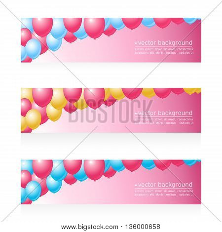 Three web banner with festive balloons. Place for your text.All elements are hidden under the mask except text .Vector illustration
