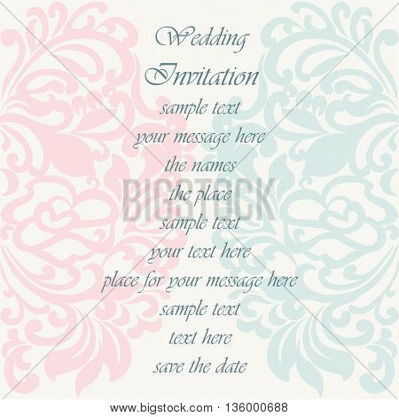 Wedding Invitation card with lace ornament. Rose quartz and opal blue color. Vector