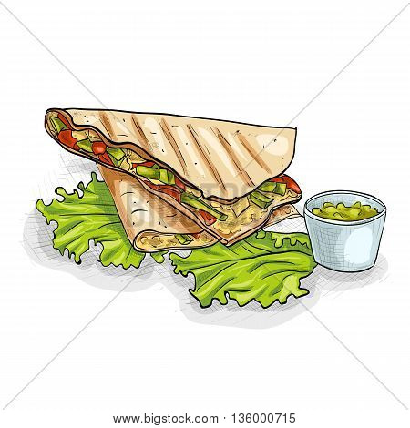 Quesadilla color picture. Mexican traditional food background with quesadilla. Hand drawn sketch vector illustration. Vintage Mexico cuisine banner