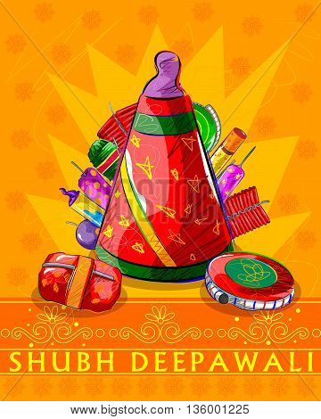 Vector design of assorted firecraker for Diwali celebration wishing Shubh Deepawali Happy Diwali