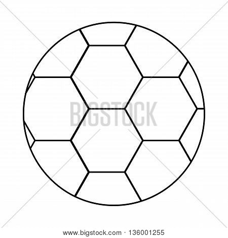 Soccer ball icon in outline style isolated on white background