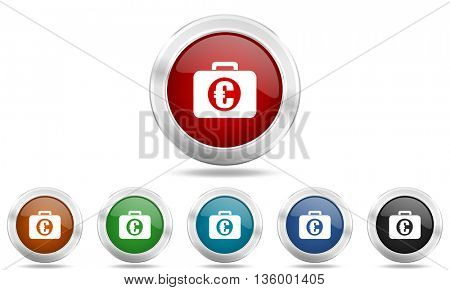 financial round glossy icon set, colored circle metallic design internet buttons