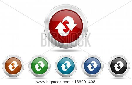 rotation round glossy icon set, colored circle metallic design internet buttons