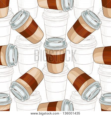 Seamless pattern coffee to go scetch and color. Take away coffee cup. Vector illustration