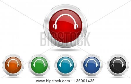 headphones round glossy icon set, colored circle metallic design internet buttons