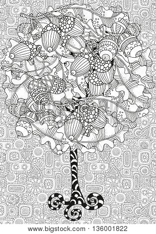 Artistic tree with hand drawn acorns and oak leaves. Hand drawn doodle tribal. Made by trace from sketch. Ink pen. Black and white background. Zentangle patters.