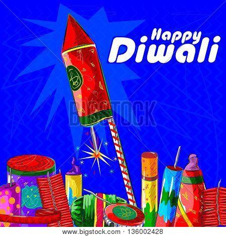 Vector design of assorted firecraker for Diwali celebration