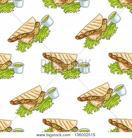Colorful Mexican food seamless pattern background. Color quesadilla scetch and color background.