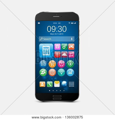 Mobile phone on white background. Smartphone with application icons.vector