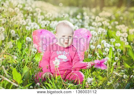 Baby with pink wings sitting among dandelions