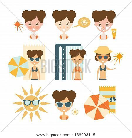 Woman Tanning And Using Skin Protection Flat Simple Cartoon Infographic Style Illustration On White Background
