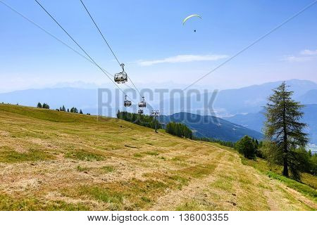 Hilly landscape in sunny weather