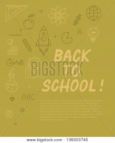 Back to school text with various school icon elements on background