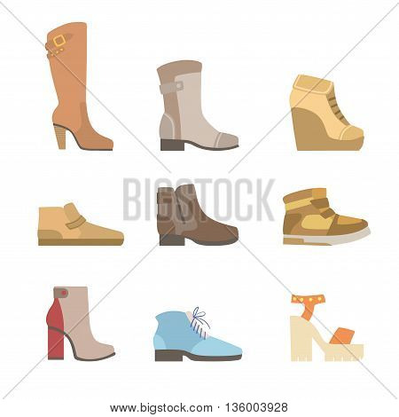 Different Shoes Assortment Flat Simplified Cartoon Style Bright Color Vector Illustration On White Background
