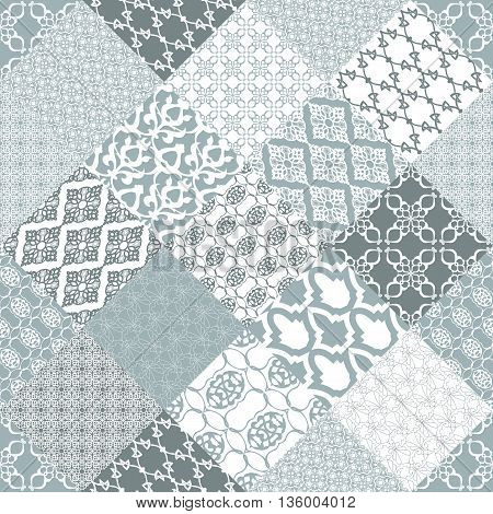Seamless patchwork background. Oriental ornament motifs. Navy blue and white ornaments.Vector illustration