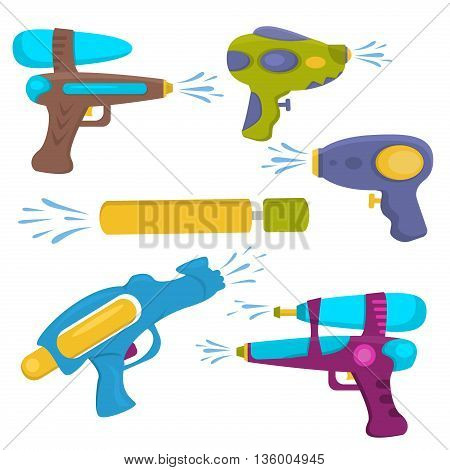 Water gun isolated. Plastic water gun songkran festival squirt gun. Set water guns. collection water pistols on white. Water pistols water spray vector toy guns. Water guns flat set for water fights.