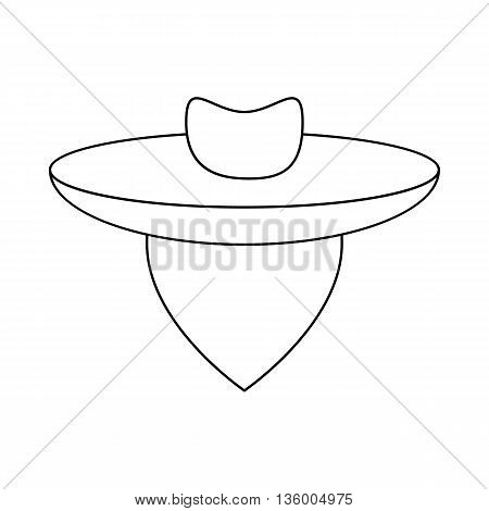 Argentine gaucho icon in outline style isolated on white background