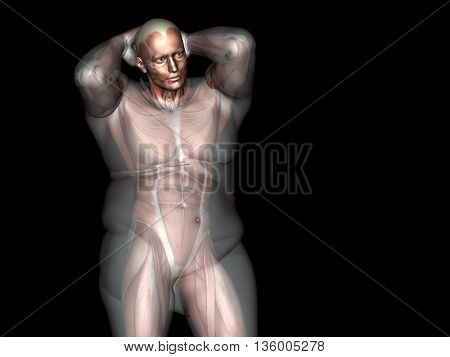 Concept or conceptual 3D fat overweight vs slim fit diet with muscles young man black gradient background  metaphor weight loss, body, fitness, obesity, health, healthy, male, dieting or shape