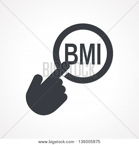 Vector hand with touching a button icon with word BMI on white backgroud