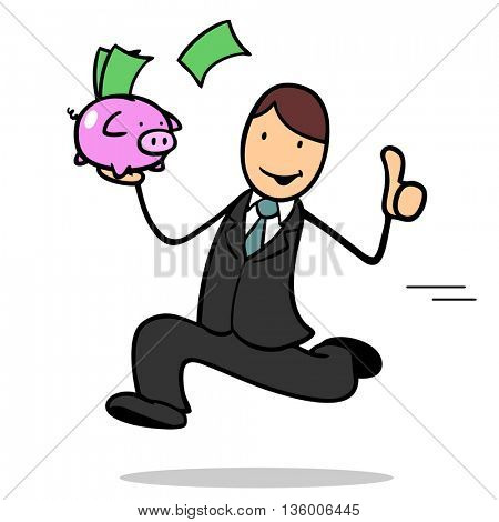Running businessman with money holding his thumbs up