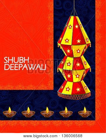 Vector design of decorated hanging lamp for Diwali celebration wishing Shubh Deepawali Happy Diwali