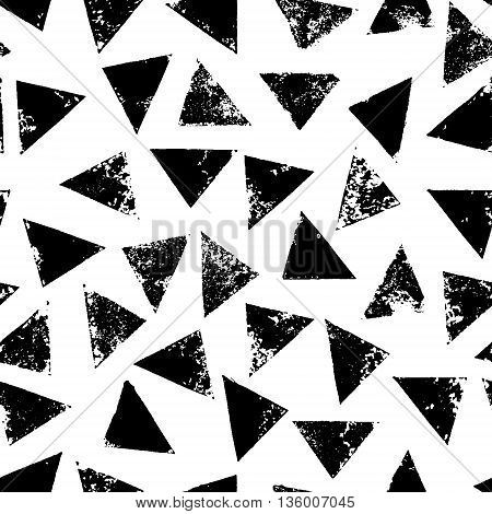 Black and white grunge print triangles geometric seamless pattern, vector background