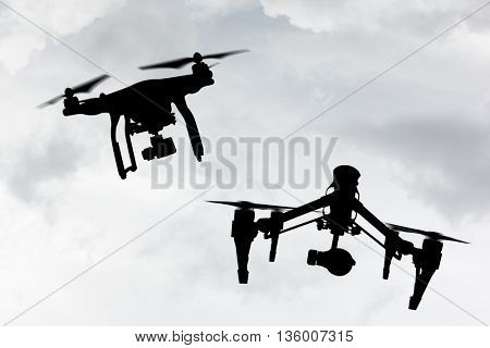 Drone with 4K camera flying, close-up.