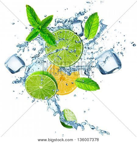 Fresh limes and lemons in water splash over white background
