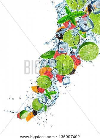 Fresh fruit in water splash over white, close-up.